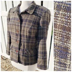 Sag Harbor brown tan blue tweed Blazer 6 petite